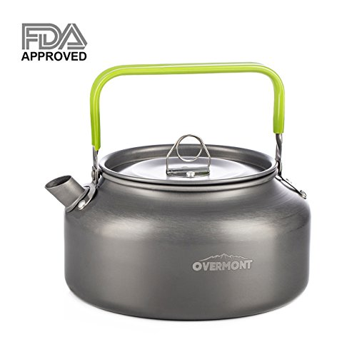 Overmont Camping Kettle Camp Tea Kettle Camping Coffee Pot Aluminum Outdoor Hiking Kettle FDA Approved Camping Gear Portable Teapot Compact and Lightweight with Silicon Handle (Water Teapot)