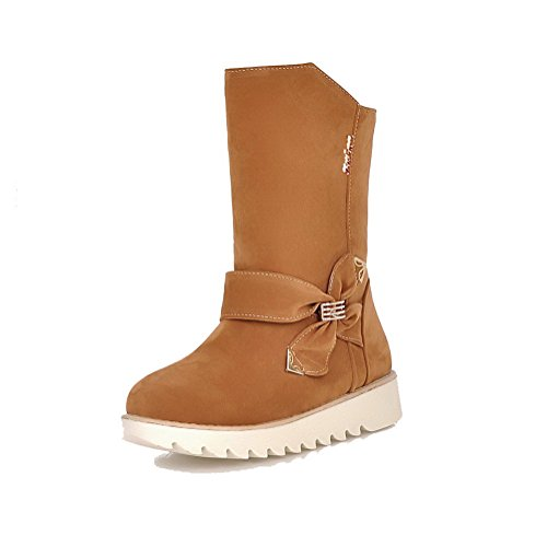 AgooLar Women's Pull-on Round Closed Toe Low-Heels Imitated Suede Low-top Boots Brown GgyyUjR