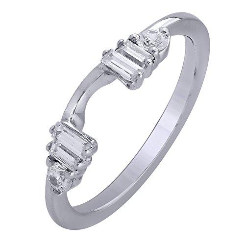 14K white Gold 1/3cttw Diamond Guard Ring ()