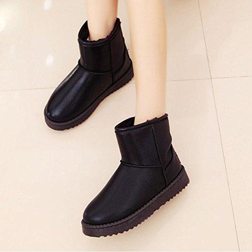 Botas Mujer,Ouneed ® Moda Mujer Chica PU Botas De Cuero Invierno Caliente Zapatos De Tobillo Tobillo Negro