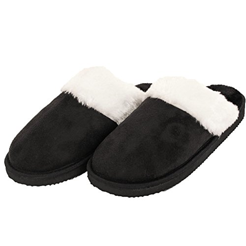 Easy USA Womens Furry Comfort Mule Slippers Black ZPZMJdS