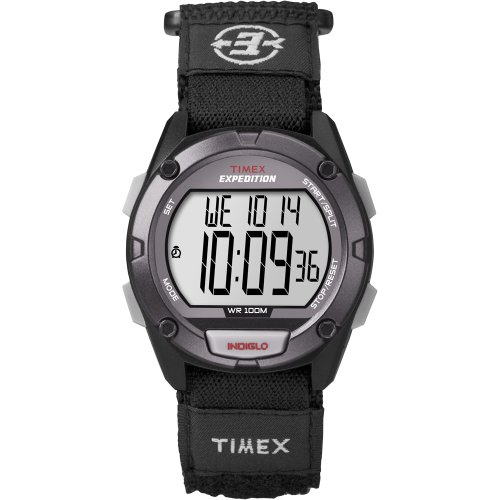 Dial Fabric (TIMEX T49949 / Timex Expedition Full Pusher CAT Digital Watch - Grey Dial/Black Fabric Fast Wrap Strap)