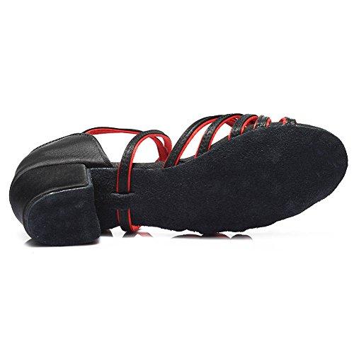De Hroyl Zapatos rojo zapatillas K Negro Estándar Salón Niñas 203 Latino Satín Baile Baile SZSwr6qE