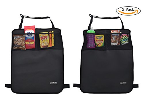 Alphabetz 2-Piece Kick Durable Rubber Kick Mats & Car Seat Protectors with Storage Pocket and Baby-in-Car Sign, Black