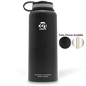 Vacuum Insulated Wide Mouth Stainless Steel Sweat Proof Water Bottle , 32 Ounce , Black