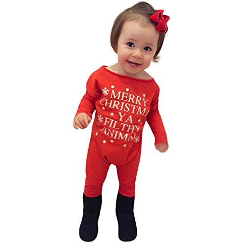 Kehen Baby Boys Girls New Year Christms Costume Letter Print Solid Long Sleeve Cotton Romper (Red, 3-6 Months)