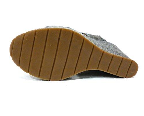 Cafènoir HC943-277 antracite sandalo zeppa alta due fasce grigio antracite n° 38
