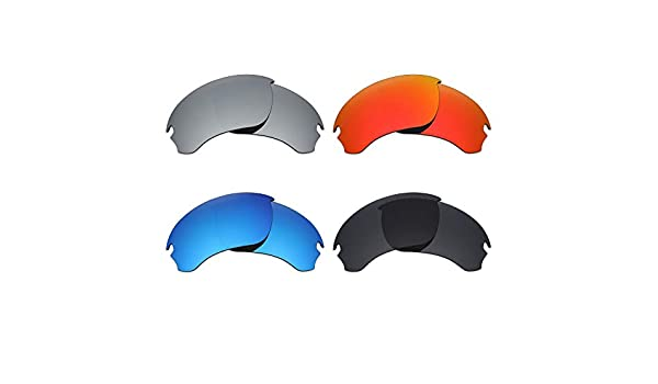 acd517ad08 Amazon.com   Mryok 4 Pair Polarized Replacement Lenses for Oakley Si Speed  Jacket Sunglass - Stealth Black Fire Red Ice Blue Silver Titanium   Sports    ...