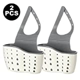 "My Sponge Holder | 2pcs Sink Sider Faucet Caddy with Sanitary Drain Holes | 5.1""x8.7"" Flexible Kitchen Sink Organizer Strainer Basket with Adjustable Strap for Sponge Scrubber Dishwashing Brush 