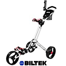Biltek Biltek Premium 3-Wheel Golf Push Cart Trolley White Umbrella Scorecard Holder