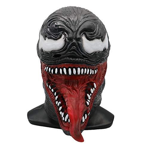 Yacn Universe Latex Venom Mask Cosplay Costume Prop Accessories Adult Halloween Helmet (Short Tongue) -