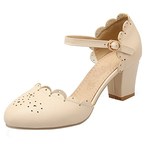 AIYOUMEI Women Round Toe Cut Out Block Heel Pumps with Ankle Strap Comfortable Shoes Beige 3ZfUHyFmO