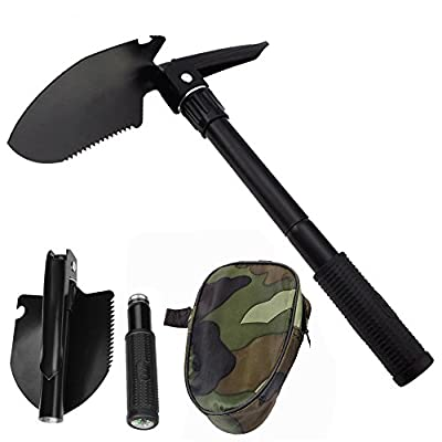 Toyoo Military Folding Shovel Multipurpose Tool for Outdoor Survival Portable with Carrying Pouch for Camping, Hiking, Backpacking, Gardening, Snow Beach Other Outdoor Activities from Toyoo