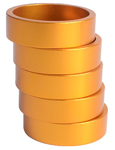 - 10mm Bike Fork Washer Stem Spacers Aluminum Alloy Bicycle Headset Washer Raise Handlebar 5pcs (Gold)