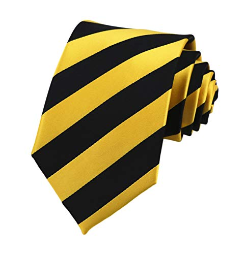 Mens Black Gold Yellow Jacquard Woven Silk Clip on Ties Business Formal Neckties