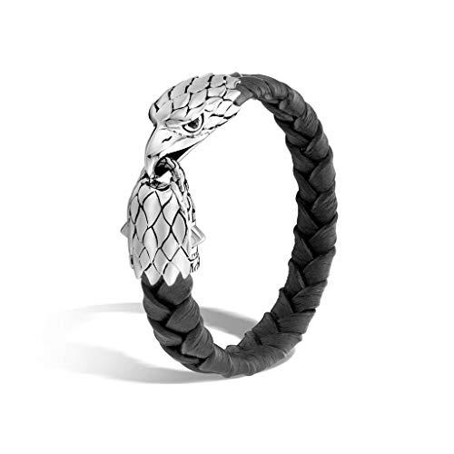 - John Hardy Men's Legends Eagle Silver Eagle Head Bracelet on Braided Black Leather 12mm with Black Chalcedony Eyes, Size M - BMS997311BLBCLXM