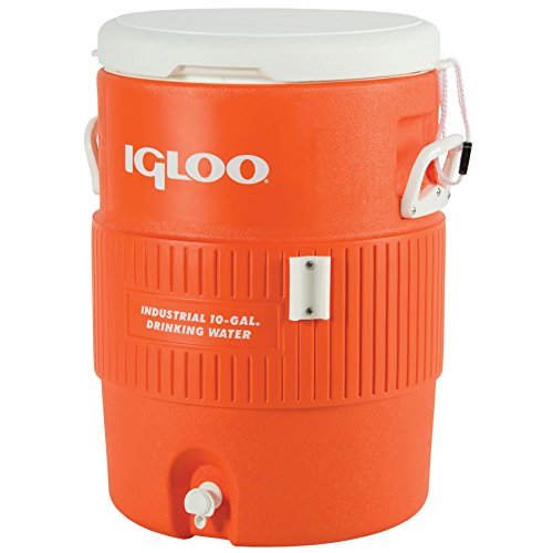 Igloo Seat Top Beverage Dispenser, Orange/White, 10 Gallon