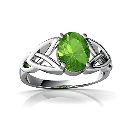 14kt White Gold Peridot 8x6mm Oval Celtic Trinity Knot Ring - Size 8.5
