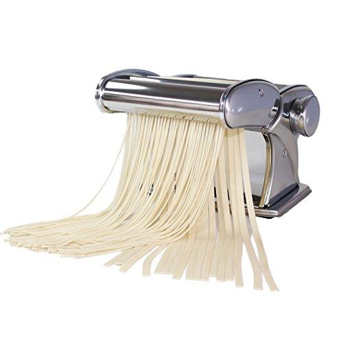 Shule Pasta Maker Stainless Steel Steamline Pasta Machine Pasta Roller Machine Includes Pasta Cutter Hand Crank Attachments for Tagliatelle Linguine Lasagna - Silver