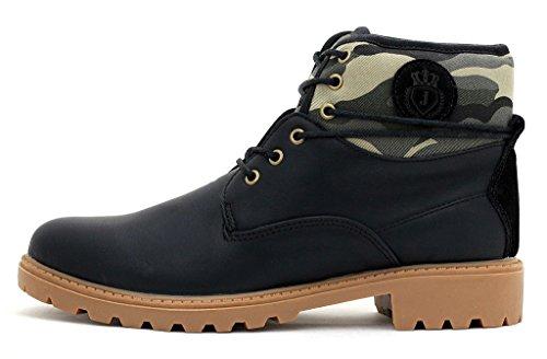 Botines Hombre Militar Zapatos Con Cordones Casual Excursión Senderismo Talla Negro