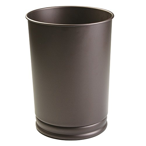 mDesign Round Metal Tall Trash Can Wastebasket, Garbage Container Bin for Bathrooms, Powder Rooms, Kitchens, Home Offices - Durable Steel Construction with a Bronze Finish