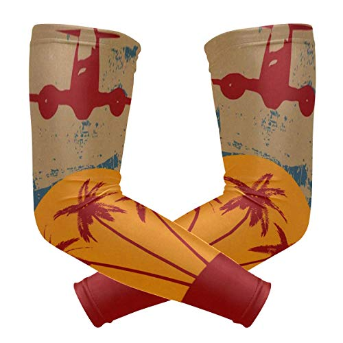 Arm Sleeves Grunge Tropical Palm Trees and Vintage Airplane Fashion Sports UV Sun Protection Arm Sleeve Cover Gloves 1 -
