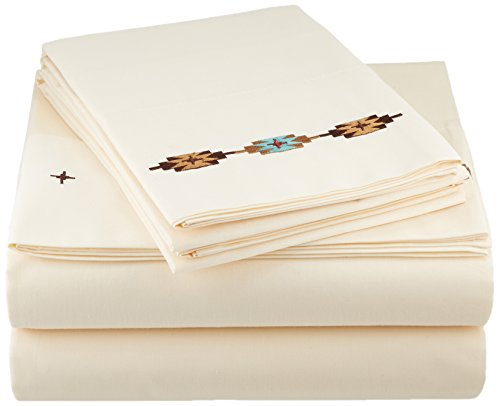 Copper Euro Comforter - HiEnd Accents Embroidered Navajo Sheet Set, Full, Cream