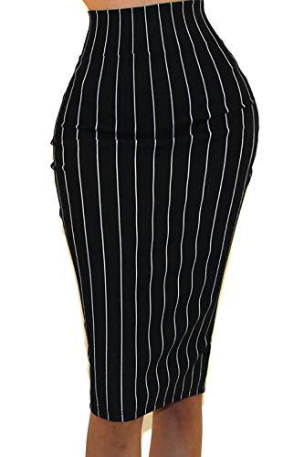 Vivicastle Women's High Waist Band Bodycon Career Office Midi Pencil Skirt (Medium, II3, blk/Ivy)