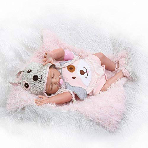 Nicery Reborn Baby Doll High Vinyl 22 inch 55 cm Magnetic Mouth Lifelike Vivid Waterproof Anatomically Correct Full Body Boy Girl Toy for Ages 3 Dog RD50Z005GC