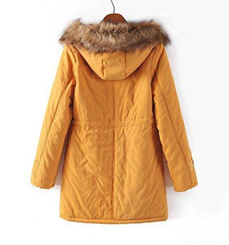 invernale addensare pelliccia Hee pile extra Grand Yellow caldo sintetica cappotto wqB5px5nfd