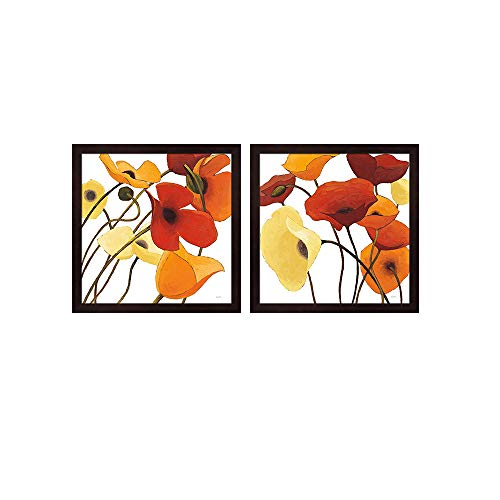 Up One & Two on White Yellow by Shirley Novak, 2 Piece Mahogany Framed Art Set, 13 X 13 Inches Each, Floral Art