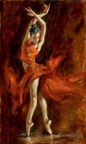 100% Hand Painted female portrait young ballet girl Fiery Dance Canvas Oil Painting for Home Wall Art by Well Known Artist, Framed, Ready to Hang