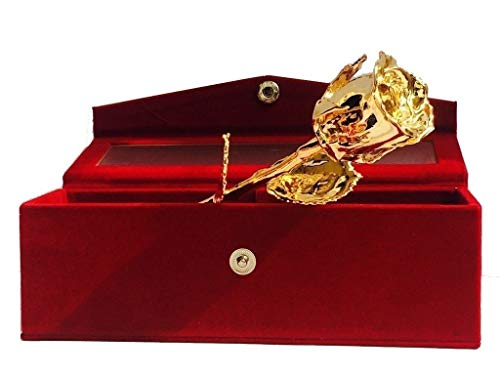Billion Deals 24k Gold Plated Natural Rose with Exclusive Red Velvet Box for Best Gift oprtion on Valentine Day, Birthday and Thanksgiving Gift