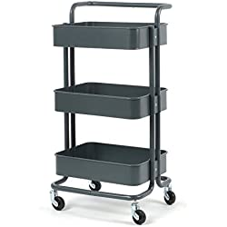 CUAFID Rolling Cart Metal Utility Cart with Wheels,3 Tier Rolling Shelf Storage with Handle Bathroom Rack Kitchen Organization Art Cart Office Shelving,Dark Gray