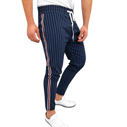 ♛TIANMI Mens Summer Joggers Striped Patchwork Casual Drawstring Sweatpants Trouser Long Pants,Mens for Pants(Navy,XL) ()