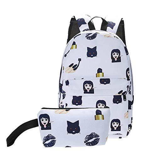 BranXin - 2Pcs/Set 3D Smiley Emoji Backpack Nylon Printing Backpack Bag School Bags Backpack for Teens Waterproof Backpack Mochila [4]