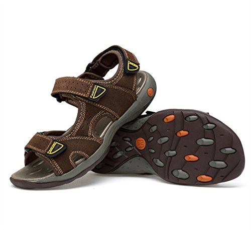 SK Studio Men's Sandals Outdoor Leather Open-Toe Sandals Non-Slip Sports Water Sandal Shoes Deep Brown dKpufIkJa