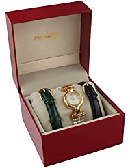 Peugeot Womens 14k Gold Plated Interchangeable Pearl & Leather Watch Gift Set
