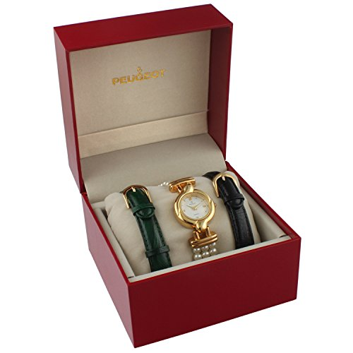 - Peugeot Women's 14k Gold Plated Interchangeable Pearl & Leather Watch Gift Set
