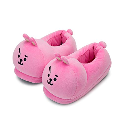 BT21 Official Merchandise by Line Friends - Cooky Character Plush House Slippers for Women and Men, Pink