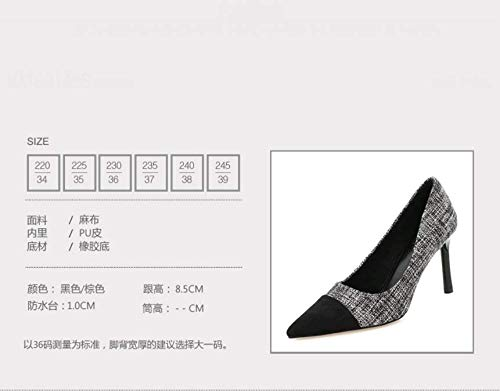 Shoes Thin Mouth Shallow Summer Simple With KPHY Black High 9Cm Head Matching Thin Sexy And Heel Color Sharp q1PaxFPIwH