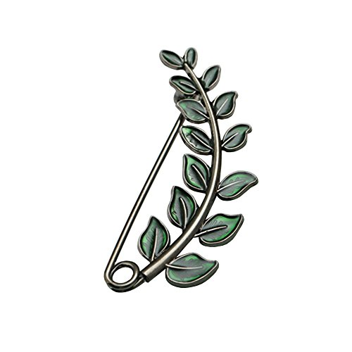 - Shinywear Vintage Green Leaf Brooch Pins for Women Crafts Scarf Cardigan Shawl Buckle Hat Sweater Decorative Safety Pin Brooch (Nickle)