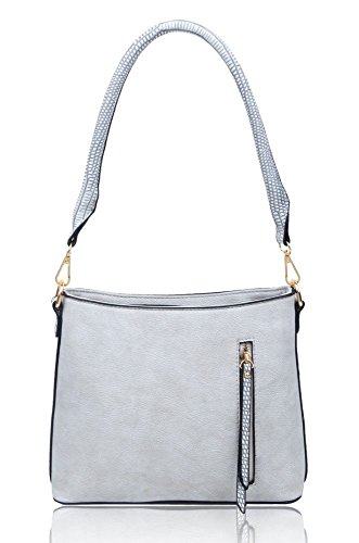 Handbag Shoulder Women's body Zip Details Bag Cross Small Grey ladies Messenger rHqaHxITn