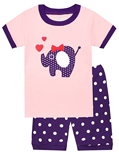 Girls Pyjama Set - Kids Pajamas Hop Big Girls Pajamas Cotton Toddler Elephant Pjs Set Children Sleepwear (Pink,8T)