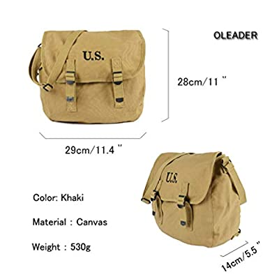 Oleader WW2 M1936 Musette Bag Backpack WWII US Army Style Haversack with Shoulder Strap Khaki Canvas from Oleader