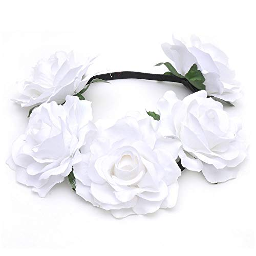 MOPOLIS Hawaiian Stretch Flower Headband for Garland Party Floral BOHO Crown Hair Wreath | Colors - White