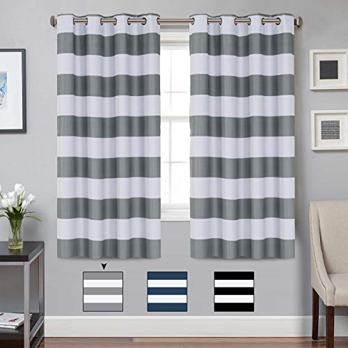 (Turquoize Blackout Striped Curtains Panels for Bedroom Noise Reducing Thermal Insulated Solid Ring Top Blackout Window Drapes (Two Panels, 52 x 63 Inch, Grey and White Striped))