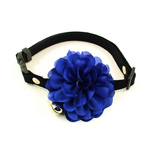 PetFavorites&Trade; Designer Wedding Flower Suede Leather Pet Cat Dog Bow Tie Collar Necklace Jewelry with Bell Charm for Pets Cats Medium Large Dogs Female Puppy Yorkie Girl (Blue, Size: 10