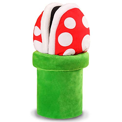 Lopbraa Piranha Plants Cannibal Flower Style Plush Slippers Loafer with Pipe Pot Holder for Adults Teens (Piranha Plants) (Mario Plush Slippers)