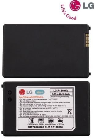 LG 950mAh Original OEM Battery for the LG Cosmos VN250 and Octane VN530 - Non-Retail Packaging - Black
